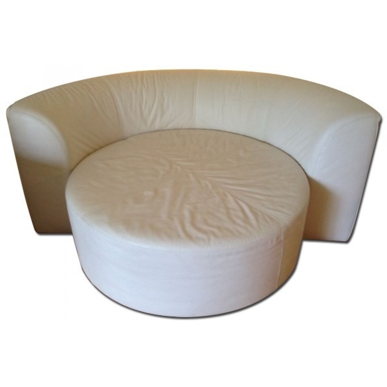 - Fabulous White Leather Round Chaise Lounge - AptDeco