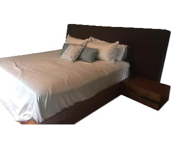 Custom Built Solid Wood King Size Bed Frame w/ Chocolate Brown Fabric Headboard