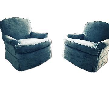 Handmade Blue Velvet Arm Chairs