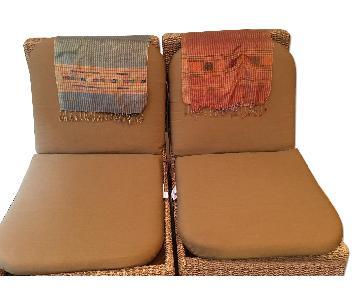 Dark Wood & Rattan Chaise Lounges w/ Ottomans