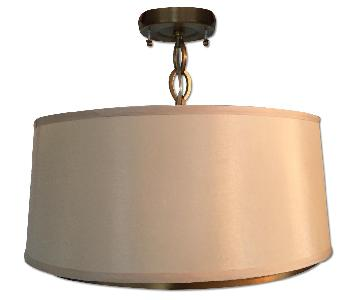 Brass Ceiling Light w/ Off White Silk Shade