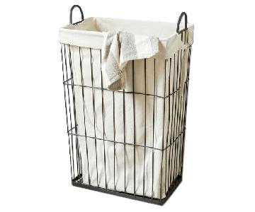 West Elm Vertical Wire Laundry Basket w/ Linen Liner