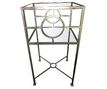 Silver Metal & Glass Top Side Table/Nightstand