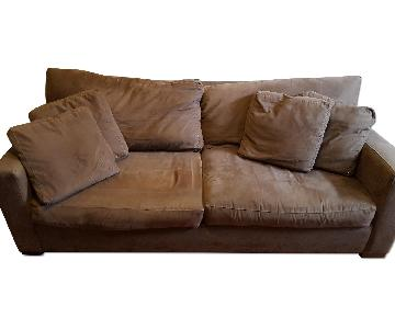 Crate & Barrel Chocolate Microsuede Sleeper Sofa