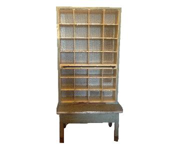 Vintage Industrial Post Office Sorting Cubbyholes