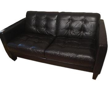 Macy's Dark Brown Leather 2 Seater Sofa