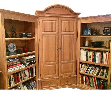 Wood Armoire w/ Bookcase