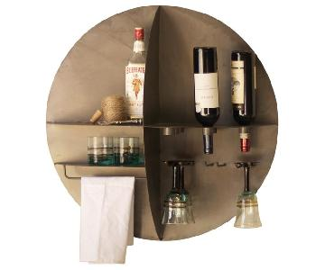 Round Metal Divided Wall Shelf Wine Bar