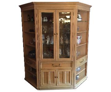 Bernhardt Furniture Curio Cabinet w/ Corner Bookshelf Units
