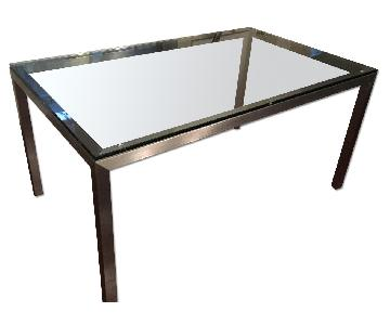 Crate & Barrel Glass Parsons Table w/ Stainless Steel Base