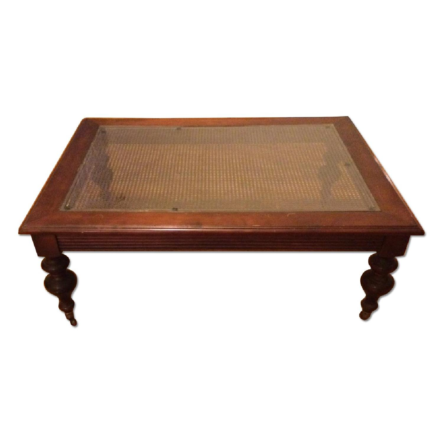 Ethan Allen British Classics Collection Coffee Table With Glass Top
