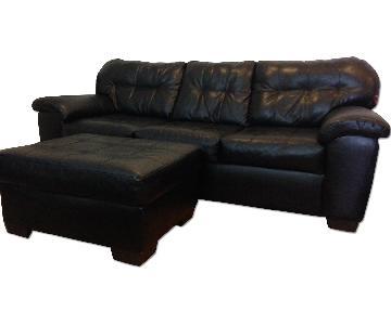Bob S 3 Seat Leather Sofa W Ottoman