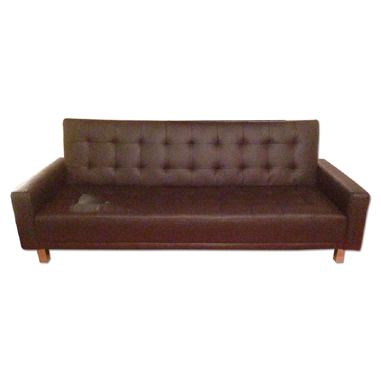 Dark Brown Tufted Sleeper Sofa ...