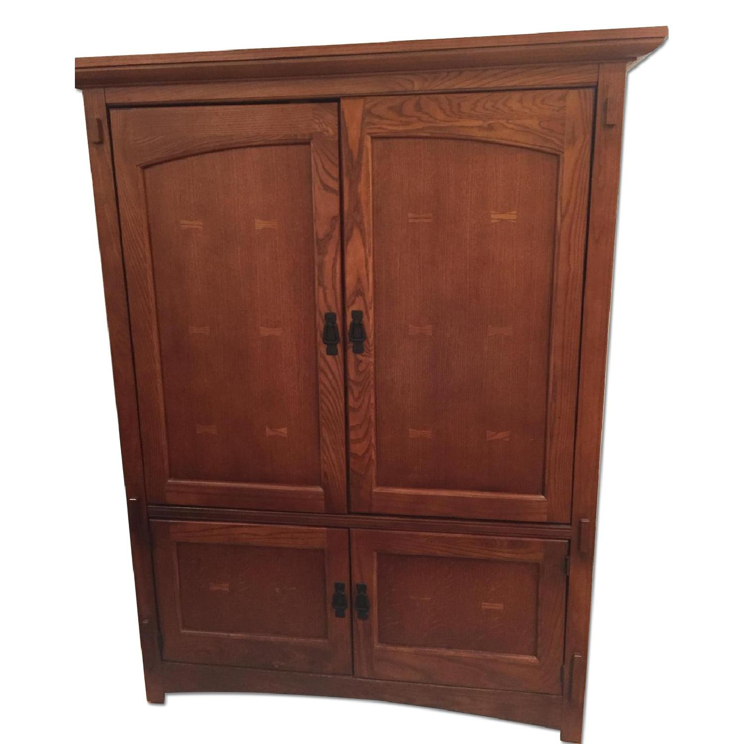 Used bassett oak armoire tv cabinet for sale in nyc aptdeco for Armoire new york city
