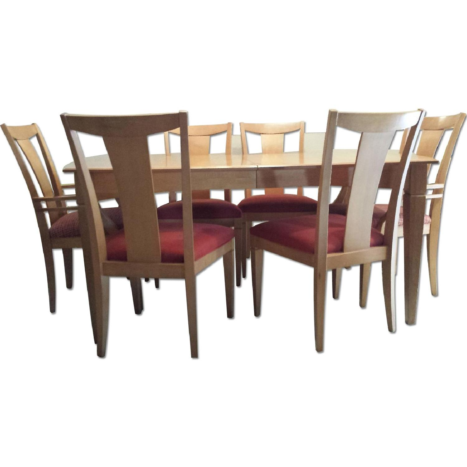 Ethan allen maple dining room table w 6 chairs for Maple dining room table