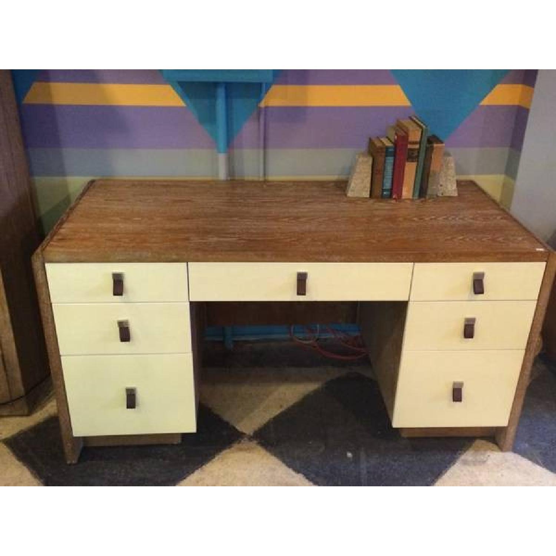 Large Modern Wood Desk With Leather Drawer Pulls Aptdeco