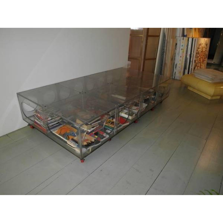 Unique Photographer's Plexiglass Table on Wheels-2