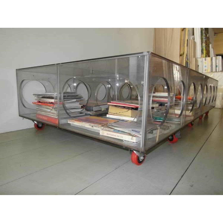 Unique Photographer's Plexiglass Table on Wheels-4