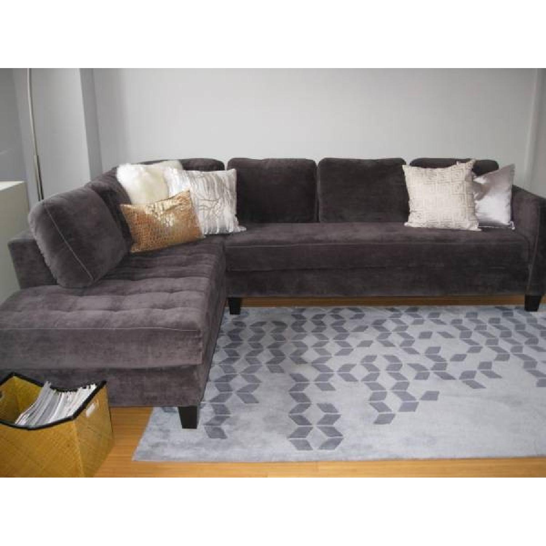Charcoal Gray Microfiber Sectional Sofa