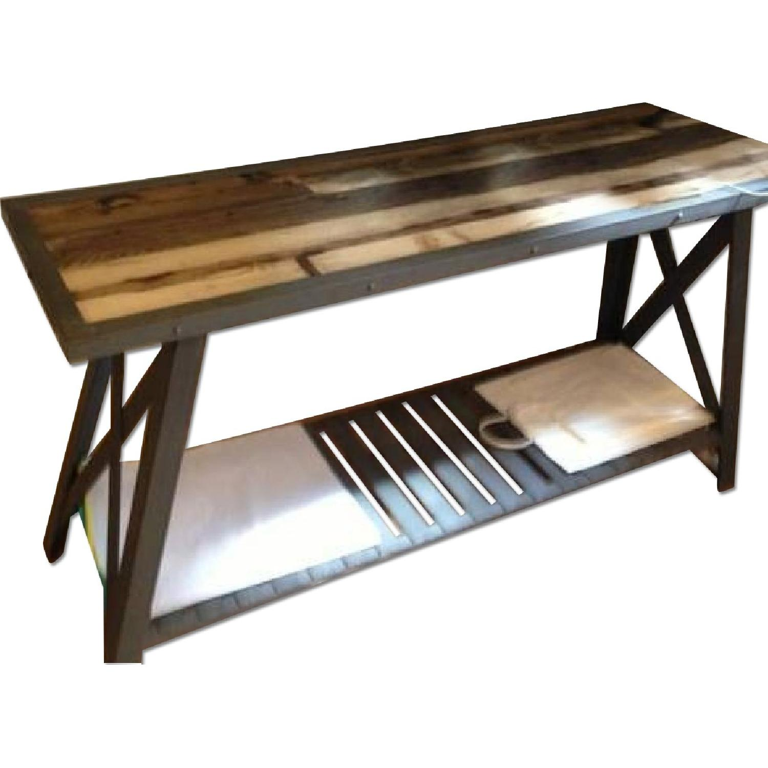 iron wood console table used cast iron amp wood console table for in nyc aptdeco 4803