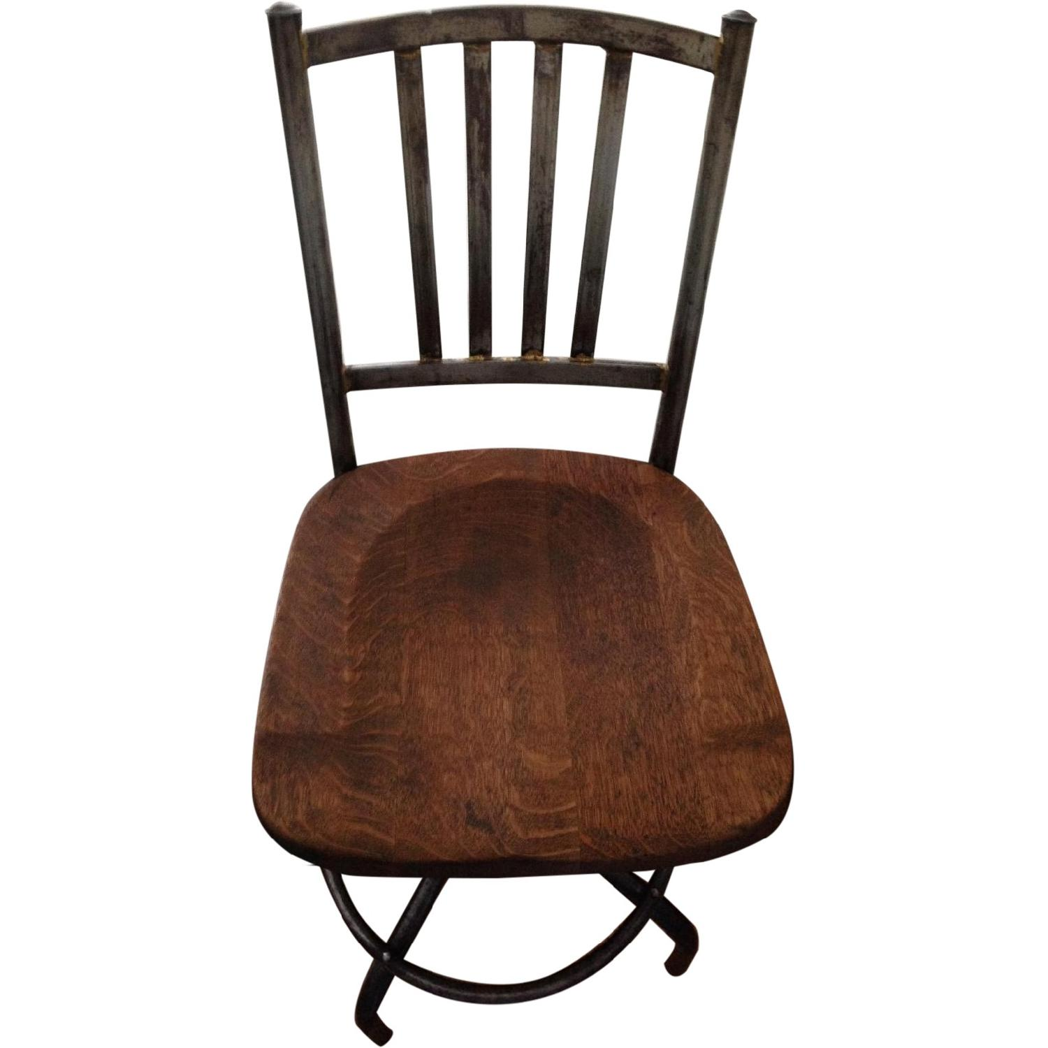Antique Wood & Iron Swivel Chair