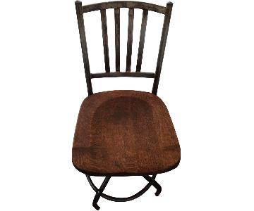 Antique Wood & Iron Swivel Chair