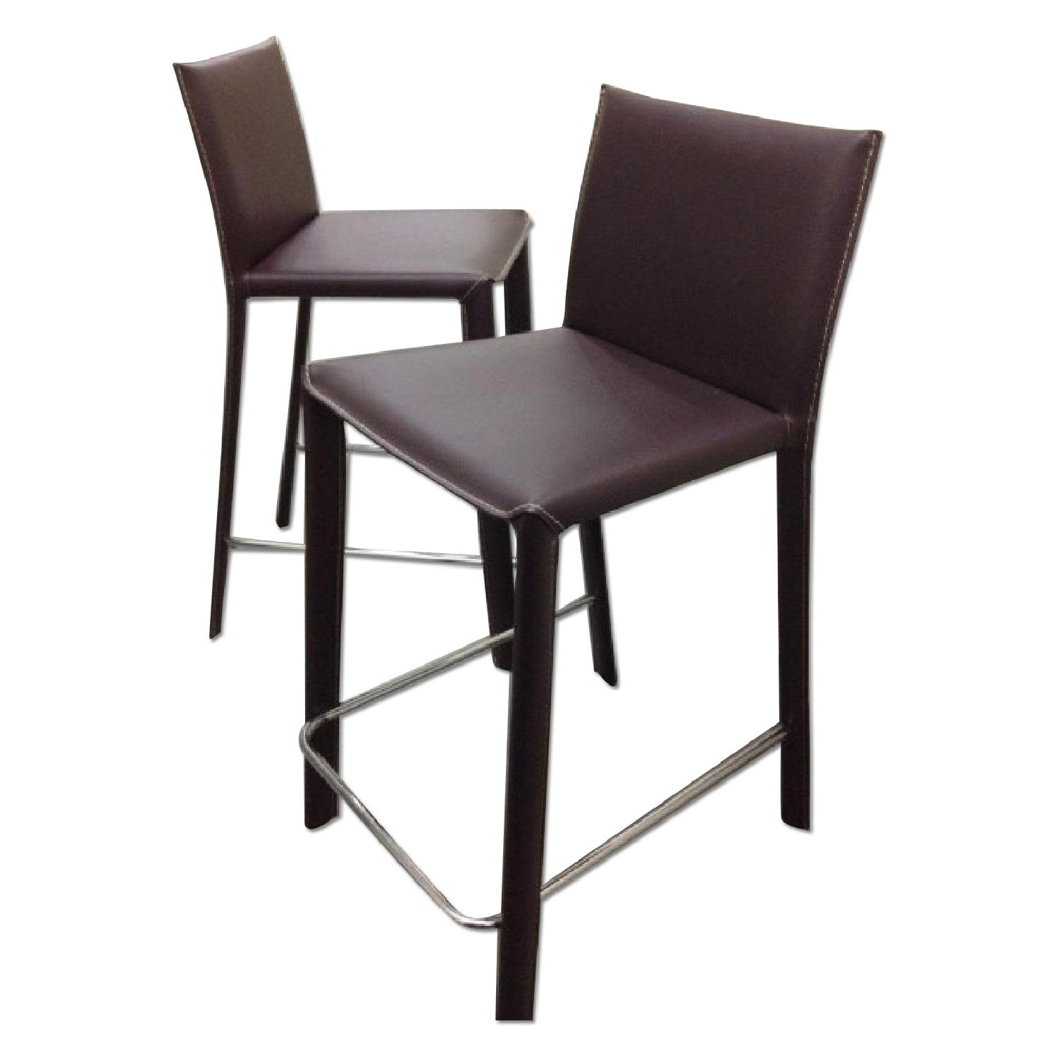 Modern Brown Leather Counter Stools (set of 2)