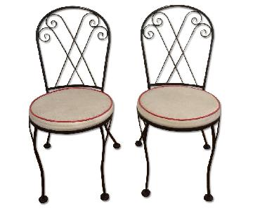 Woven Upholstered Iron Chairs