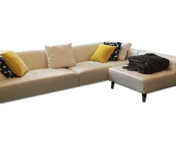 Modani White Leather Sectional Couch