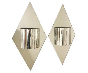 Mid-Century Modern Diamond Mirror Sconces