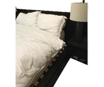 West Elm Queen Size Storage Platform Bed w/ Headboard + 2 Nightstands