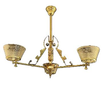 3 Arm Aesthetic Brass & Bronze Gasolier w/ Period Etched Gas Shades