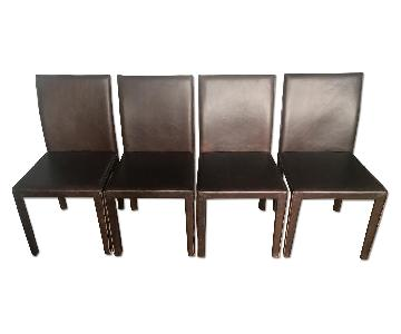 Crate & Barrel Folio Saddle Top-Grain Leather Dining Chairs