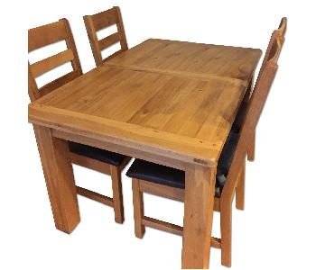Solid Wood Dining Table w/ 4 Chairs