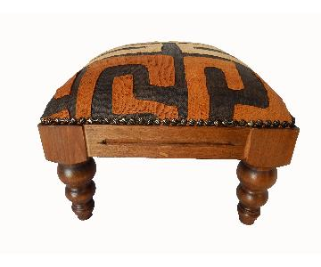 African Kuba Cloth Footstool/Low Stool