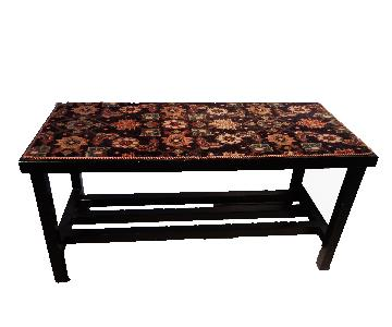Black Lacquer Elm Wood Table w/ Antique Malayer Rug Top