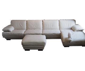 Natuzzi Ivory Sectional Sofa w/ Ottoman