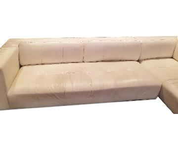 Off White Leather Sectionals Sofa