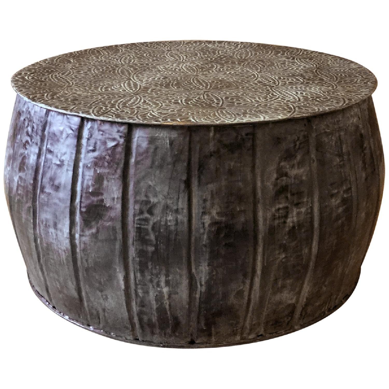 iron round small accent drum table aptdeco