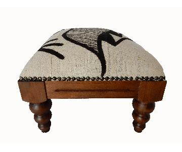 Wood Footstool w/ Cotton B & W Mud Cloth