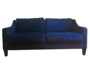 West Elm Blue Velvet Paidge Sofa