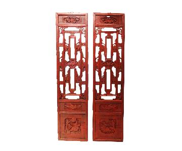 Antique Chinese Hand Carved Wood Wall Hangings