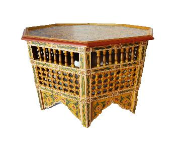 Moroccan 8 Sided Wood Painted Coffee Table