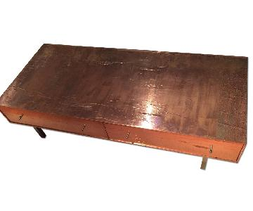 Room & Board Hammered Rose Gold Coffee Table