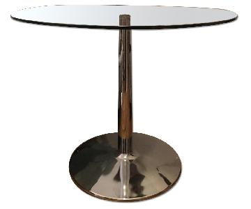 Acacia Home & Garden Round Glass Table w/ Metal Stand