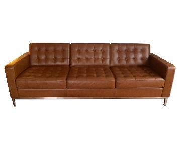 EQ3 Brown Leather Couch
