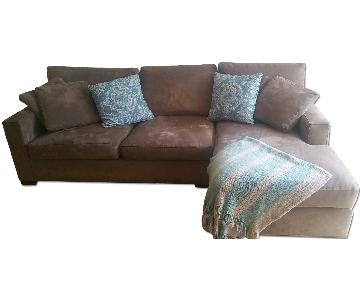 Crate & Barrel Microfiber Sectional Sofa in Douglas Coffee