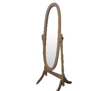 White Wooden Floor Mirror