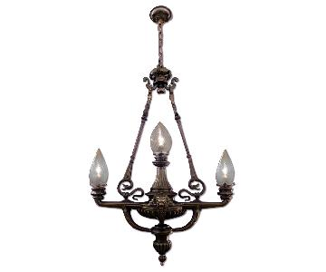 Cast Bronze French Three Light Chandelier
