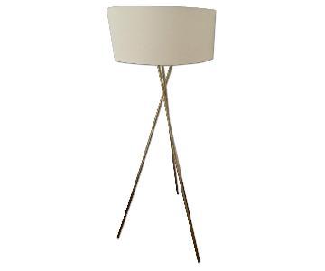 West Elm Antique Brass Mid-Century Tripod Floor Lamp